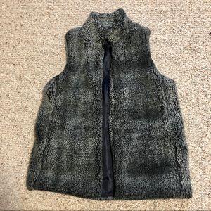 Black and Gray Fuzzy Vest